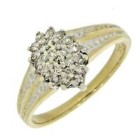 Pre Owned 9ct Yellow Gold 0.25ct Diamond Cluster Ring CH808