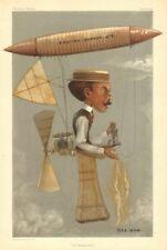 "Vanity fair spy cartoon. alberto santos-dumont ""la deutsch prix"". aviation 1901"