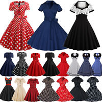 Women Rockabilly 50s 60s Vintage Swing Dresses Evening Party Cocktail Prom Pinup