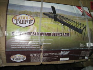 Field Tuff 3 Point 72 Inch Durable Powder Coated Steel Pine Straw Rake, Black