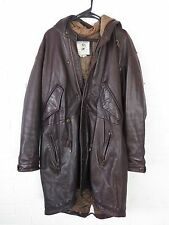 BEYOND RARE VINTAGE BANANA REPUBLIC BROWN LEATHER FISHTAIL PARKA JACKET MEDIUM M