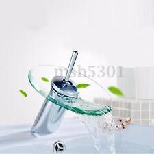 Chrome Glass Waterfall Bathroom Sink Vessel Faucet Kitchen Bathroom Basin Handle