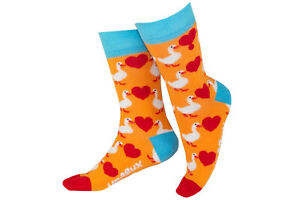 Unabux Socken - GOOSE LOVE - orange Socke mit roten Herzen und Gänse