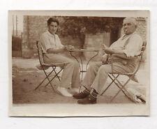 PHOTO ANCIENNE Joueurs de cartes Jeu Jardin Hommes Cigarette Vers 1930 Loisirs
