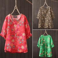 ZANZEA Women's 1/2 Sleeve Casual Floral Print Shirt Tops Round Neck Blouse Plus
