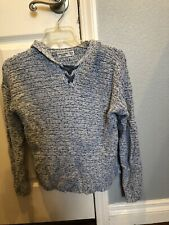 EUC A&F Abercrombie & Fitch Kids Light Blue Chunky Sweater with Hood sz 13/14