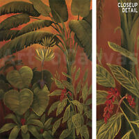 """24""""x36"""" TROPICAL DELIGHT I by SUSAN OLLER RAINFOREST LEAVES WARM COLORS CANVAS"""