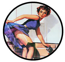 RETRO 60s PIN-UP GIRL -  FUN CAR TAX DISC HOLDER - BRAND NEW - REUSABLE - GIFT