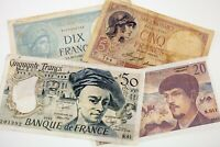 Lot of 4 France Notes (1933 - 1985 5 Francs - 50 Francs) VG - XF Condition