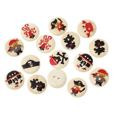 25 CUTE PIRATE NATURAL WOODEN PAINTED BUTTONS 18mm Sewing~Knitting~Cards (40D)UK