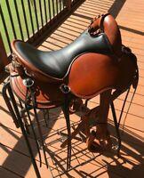 Western Endurance saddle 16'' Eco leather color chestnut on drum dye finished
