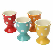 Dexam Set of 4 Polka Dot Stoneware Footed Egg Cups Holder Red Yellow Orange Blue