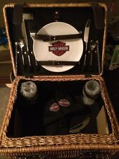 NWT RARE Harley-Davidson Champion Suitcase-Style Picnic Basket Unique Gift!