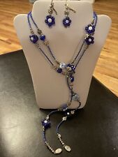 Artisan Rope Necklace/Earring Royal Blue Handmade Lampwork Glass Bead 46� Strand