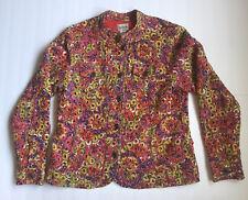 Chicos Multicolor Blazer Jacket Button Front Vibrant Circles Size 1 Medium