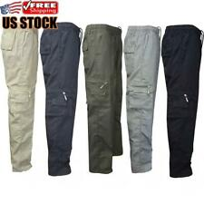 Mens Elasticated Cargo Combat Work Trousers Casual Slim Fit Pocket Pants Bottoms