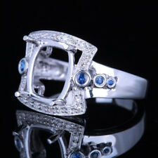 10X9mm Cushion SI/H Diamonds Sapphires Semi Mount Gift Ring Solid 14k White Gold