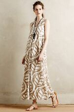 NWT ANTHROPOLOGIE Pera Maxi Dress By Whit Two Size Small $248 Bold Leaf Print