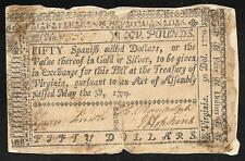 Virginia - Very Early Note & Rare - 50 Dollars = 15 Pounds - 1779 - S3617