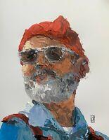 Bill Murray Steve Zissou Abstract Palette Knife Art Original Painting Art Bust