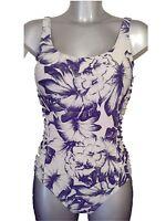 New Cream & Blue Swimsuit UK 8 Ladies Bathing Suit Swimming Costume Foam Cups
