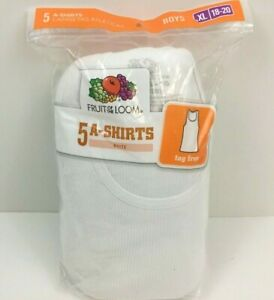Fruit of The Loom Boys A-Shirts Size XL 18-20 White Sealed Package