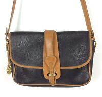 Dooney & Bourke AWL Crossbody Bag Purse Black Tan Pebble Leather Flap Pocket