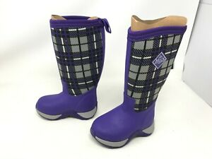 Girls Toddlers Muck Boot (KAA-5PLD) Arctic Adventure purple plaid boots (R12)