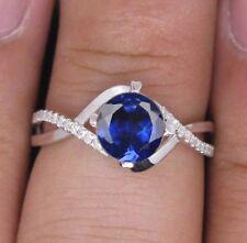 585er Weißgold 1,30KT Natürlich blau Tansanit EGL Zertifiziert Diamant Ring