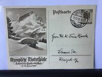 Germany 1936 Winter Olympics third reich stamps Postcard Ref R25960