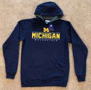 NEW!!! Men's Michigan Wolverines Champion Hoodie Embroidered Logo S&L