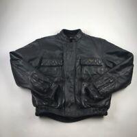Vintage 80s 90s Hein Gericke Motorcycle Jacket First Gear Mens Black Zip Up L 44