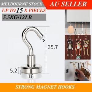 UP to 15x Magnet Hooks Fridge Hanger Holder Magnetic Neodymium N38 5.5 KG 16mm