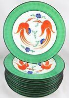 SPECIAL SET(S) 6 ARTIST HAND PAINTED CHINA DINNER PLATES FOLK ART BIRDS FLOWERS