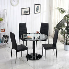 Tempered Glass Round Dining Table Set with 4 Black Chairs Eiffel Lounge Set