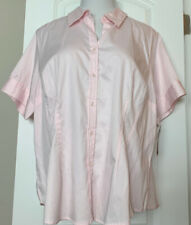 Merona Top Blouse Shirt Pink Button Up Short Sleeve Cotton Stretch Plus 22W 3X