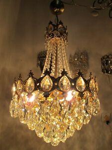 Antique French HUGE Basket Crystal Chandelier Lamp Lustre Luster1940's 14in Ø*,,