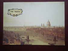 POSTCARD LONDON THE THAMES  - ST PAULS & THE CITY FROM BANKSIDE - LINEN TYPE POS