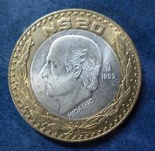 MEXICO BIMETALLIC SILVER COIN 20 Nuevos Pesos, KM561 AU 1993 - Hidalgo