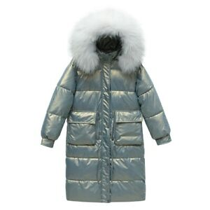 Winter Womens Down Cotton Parka Big Faux Fur Collar Hooded Coat Jacket Outwear