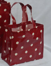 Dee's Handmade Totes- Cotton Oilcloth Lunch, craft, Childs Bag - Red Spot