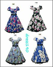 dress190 Floral Cap Sleeve 50s Rockabilly Cocktail Prom Ball Party Dress UK 8-26