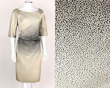 LELA ROSE Pearl White Granulated Black Ombre Ruched Side Cocktail Dress Size 12