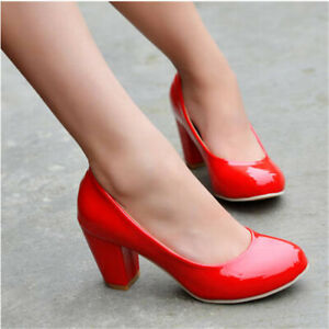 Womens Party Shoes Synthetic Leather Med Block Heel Round Toe Pumps Work Shoes