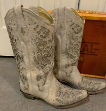 Corral Glitter Inlay Crystal Leather Wedding Western Boots White Size 11 $259