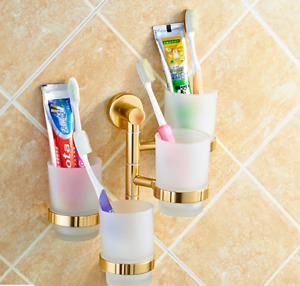 New Brass Gold Three Toothbrush Holders with Tumblers Shelf Bathroom Accessory