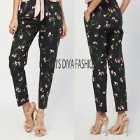 EX H&M Slacks Floral Print Stretchy Cigarette Trousers Pant Size UK 8-16