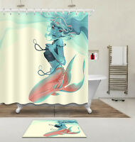 Girl Bathroom Hooks Polyester Fabric Shower Curtain Set Blue Hair Young Mermaid