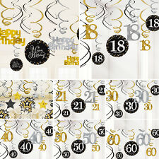 SPARKLING SWIRLS 18TH 21ST 30TH 40TH 50TH HANGING DECORATIONS GOLD BLACK PARTY