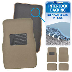 Medium Beige Car Floor Mats No Slip or Skid Lock-In-Place Backing 4pc Set Carpet
